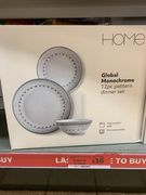 Sainsbury's Home Global Monochrome Decal Dinner Set 12pc