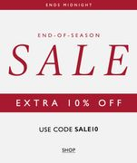 Ends Midnight! Extra 10% off the up to 70% off Sale with Code