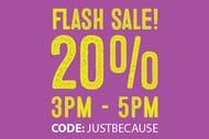 20% off Flash Sale 3-5pm!