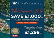 River Cruising - 2019 SUMMER SALE - save £1,000pp + FLIGHTS INCLUDED!