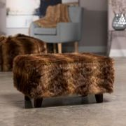 ICON Brown Bear Faux Fur Footstool
