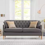 *SAVE £600* Charlotte Chesterfield Grey Linen Fabric 3 Seater Sofa