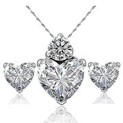 Crystal Heart Shape Necklace Earrings Set (White) Only £0.22
