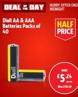 Diall Alkaline AA / AAA Batteries 40 Pack - Half Price