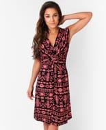 Aztec Print Knot Front Dress