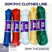 30M String Clothes Washing Line PVC Plastic with Steel Core VARIOUS COLOURS