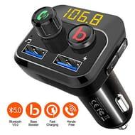 Lightning Deal FM Transmitter, Bass Booster V5.0 Bluetooth Car Transmitter