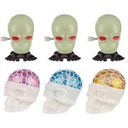 6 Pack Halloween Glow in the Dark Windup and Squeezable Skull Toys