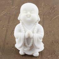 White Sandstone Small Maitreya Praying Buddha Figure Statue Sculpture Home Decor