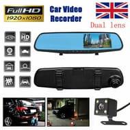 4.3'' HD Dual Lens Car DVR Dash Cam Front Rear Mirror Camera Touch Recorder UK