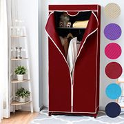 Folding Fabric Canvas Wardrobe - Only WINE RED