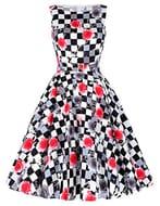 Belle Poque Retro Women 50s Elegant Floral Prom Swing Midi Dresses