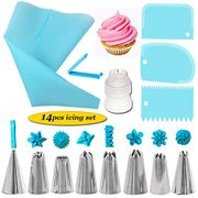 14-Piece Cake Decorating Supplies Sets with Stainless Icing Tips