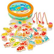 Milly & Ted Wooden Magnetic Fishing Game for Children or Toddlers