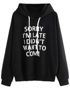 Women Letter Print Long Sleeve Pullover Hooded Sweatshirts Only £9.42