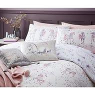 White Unicorn Star Print Easy Care Duvet Set