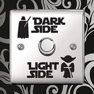 Star Wars Dark Light Side Switch Vinyl Decal Sticker - Darth Vader and Yoda