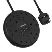 55% off TESSAN 6 Way Extension Lead, 1.8 Meter Cord 3 USB Ports Socket Switched