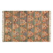 Tiger Face Multi-Coloured Flat Weave Recycled Cotton Rug 170 X 240cm 70% Off
