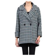 Save over £100 on Jolie Moi - Blue Houndstooth Dip Hem Cocoon Coat