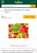 Rowntrees Strawberry Ice Lollies 292ml