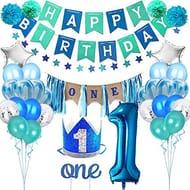 Baiwka 1 Year Old Boy Birthday Party Decoration Set,34pc Kids Birthday Party