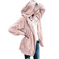 Befied Women Casual Fuzzy Fleece Hooded Cardigan Pocket Faux Fur Outerwear Coat