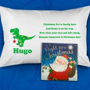 Dinosaur Personalised Christmas Eve Pillow Case