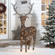 Ralph the 180cm Brown Rattan Christmas Reindeer - Mains & Battery Operated