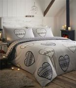 Brushed Cotton Flannelette Duvet Sets Patchwork Heart Print Quilt Cover