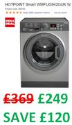 MEGA DEAL save £120 - HOTPOINT Smart 9kg 1400 Spin Washing Machine - Graphite