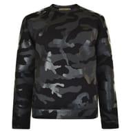 Mens Black Valentino Camouflage Jumper