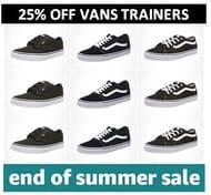25% off Vans Trainers Today
