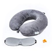 Firm Memory Foam Neck Support Cushion Free Eye Mask and Ear Plugs