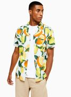 Lemon and Orange Print Slim Shirt