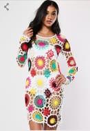 White Crochet Patchwork Dress