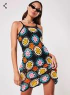 Black Crochet Patchwork Mini Dress
