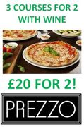 PREZZO BARGAIN! 3 Course Meal with Wine for Just £10 Each!