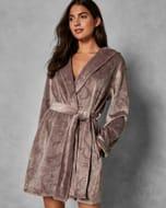 Zalinda Hooded Embossed Dressing Gown