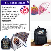 Kids Personalised Backpacks from £8.99 - £14.99 (Some Include Umbrella)