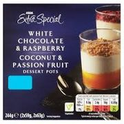 ASDA 2 White Chocolate & Raspberry and 2 Coconut & Passion Fruit Dessert Pots