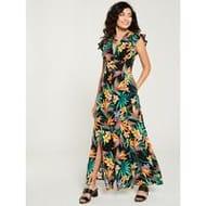 Special Offer at Very Linen Button Through Maxi Dress - Tropical Print