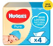 Huggies Pure Baby Wipes Fragrance Free 4 Pack