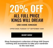 20% off Full Priced Kings Will Dream Clothing & Accessories