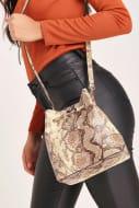 Brown Snake Print Drawstring Bag Down From £40 to £10