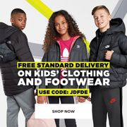 Use Code for FREE Standard Delivery on Kids Clothing & Footwear at JD Sports.