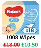 SAVE £7.50 - Huggies Pure Baby Wipes, 18 Packs (1008 Wipes)
