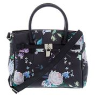 Floral Satchel Crossbody Bag - Black