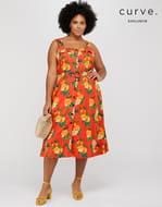Olga Orange Print Pinafore Dress