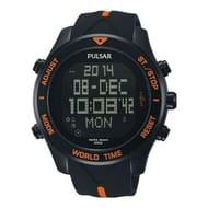Pulsar Mens Digital Watch Sports 100M with Chronograph, Alarm World Time & Light